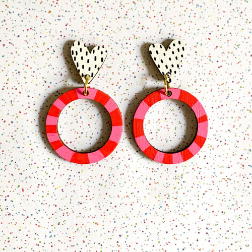 Kathleen Benham - Loopy heart wood earrings - Pink and Red-Pipp Pop