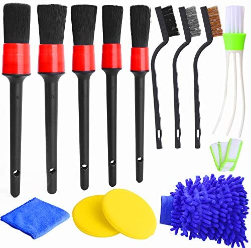 13Pcs Detailing Brush Set Car Detailing Kit for Auto Detailing Cleaning Car Motorcycle Interior, Exterior,Leather, Air Vents: Automotive