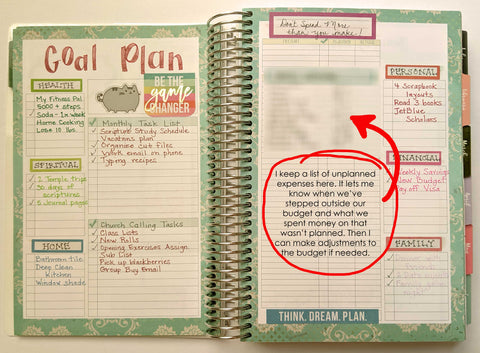 Planner goal setting page