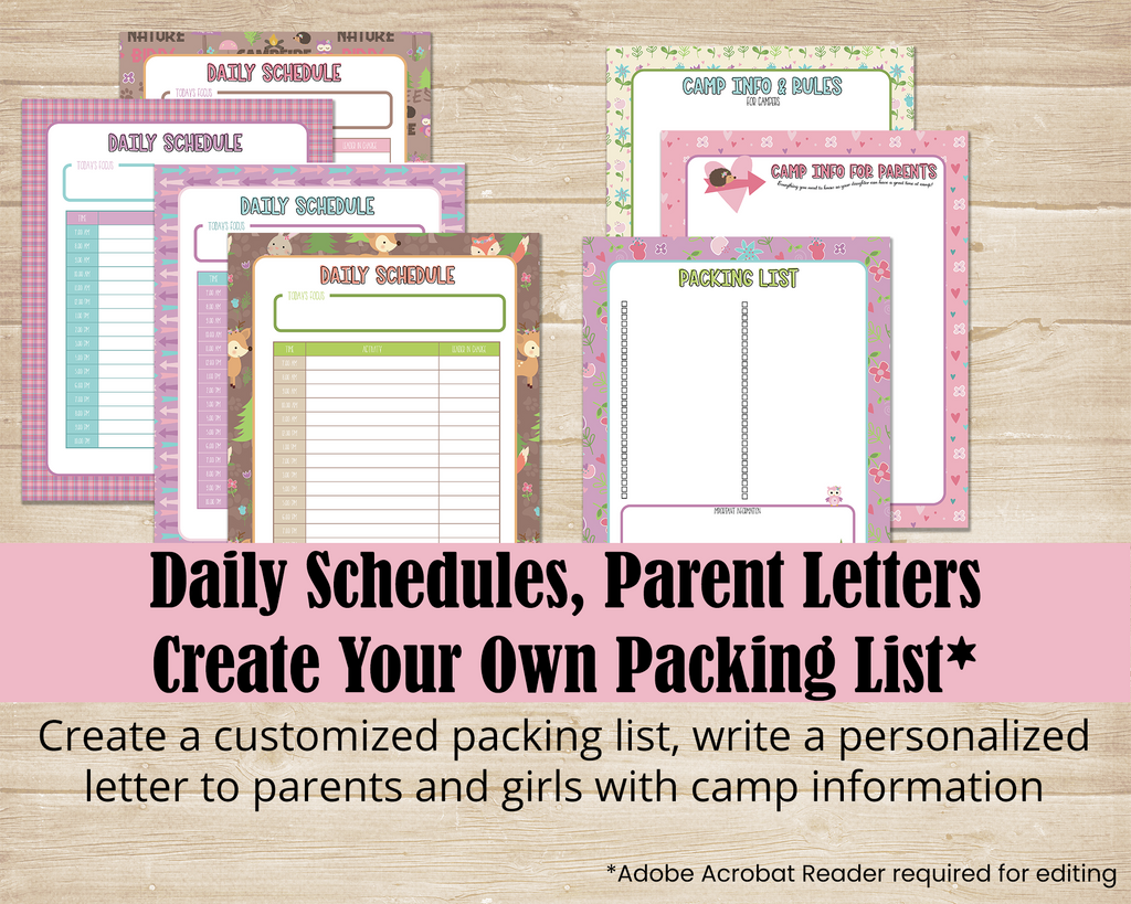 LDS Girls Camp planner