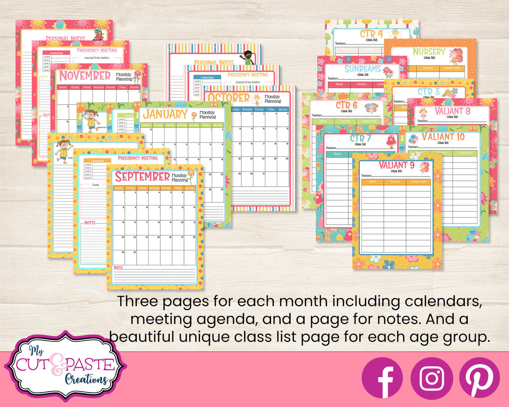 2021 Primary Presidency Planner Bundle - Come Follow Me Planner - LDS Primary Planner 2021 - Primary Printables - EDITABLE Primary Planner