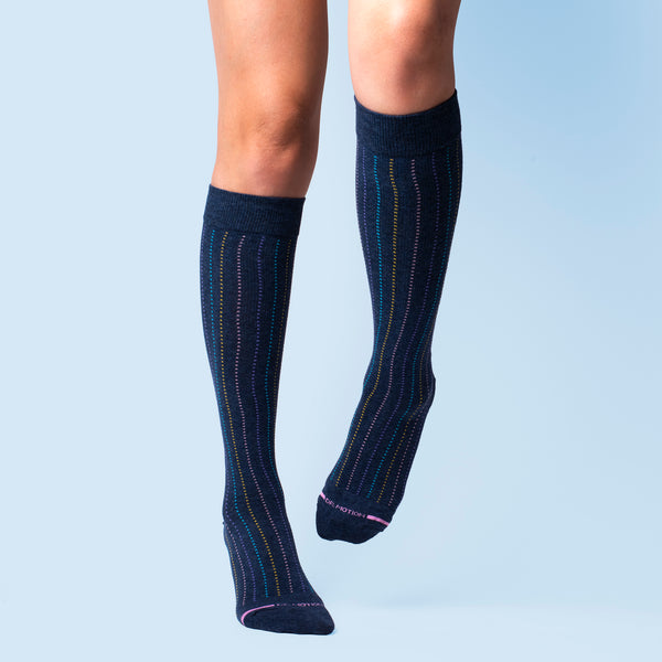 Broken Vertical Stripe | Knee-High Compression Socks For Women