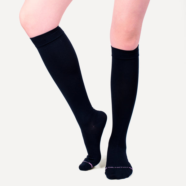 Solid Microfiber Nylon | Knee-High Compression Socks For Women