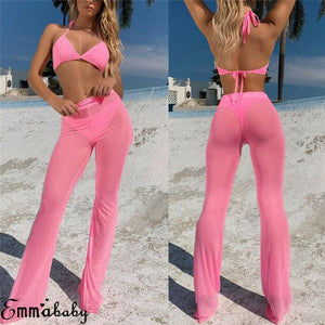 See Through Flared Mesh Summer Beach Long High Waist pants