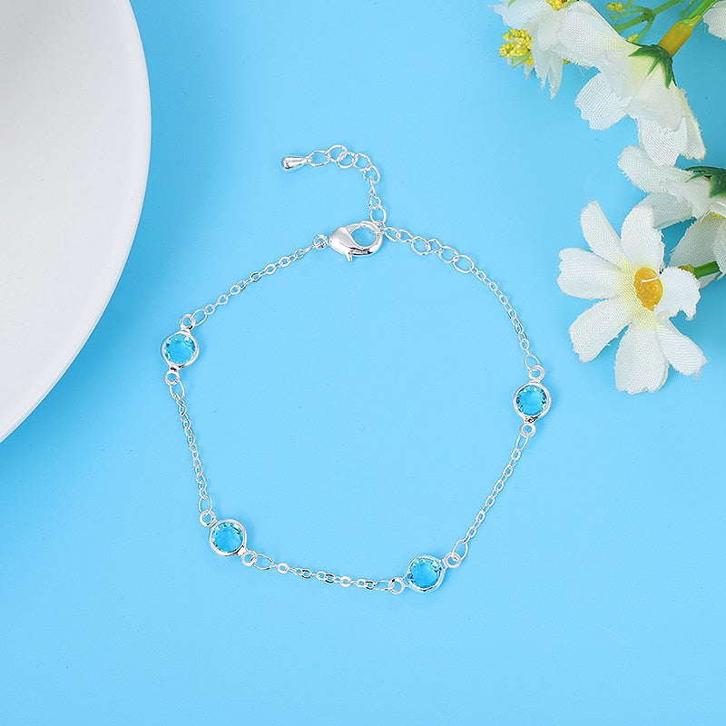 beach natural crystal glass bracelet exquisite simple adjustable length