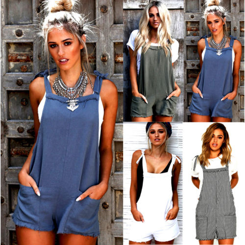 Fashion Casual Playsuit Ladies Jumpsuit Pocket Romper Summer Beach