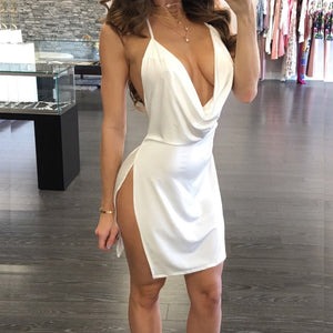 Sexy Backless Strap Full Slip Dress Side Open Deep V-neck  Under Dress Intimates