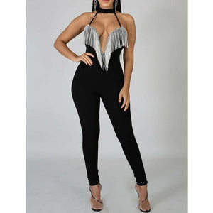 Vintage Sequin Glitter Deep V-Neck Sexy Dress or Jumpsuit