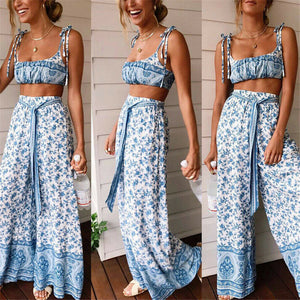Summer Set Women Outfits Floral Sleeveless Crop Top Flared Pants Party Set Beach Clolthes Set 2 Piece Sets Womens Outfits