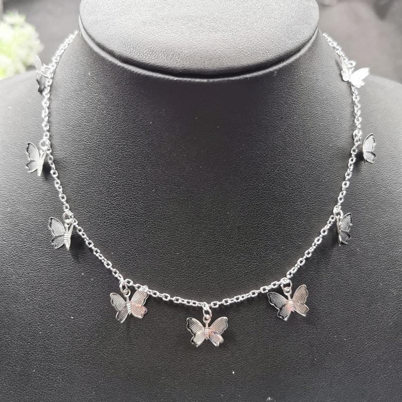 Cute Small Butterfly Chain Necklace Gold and Silver