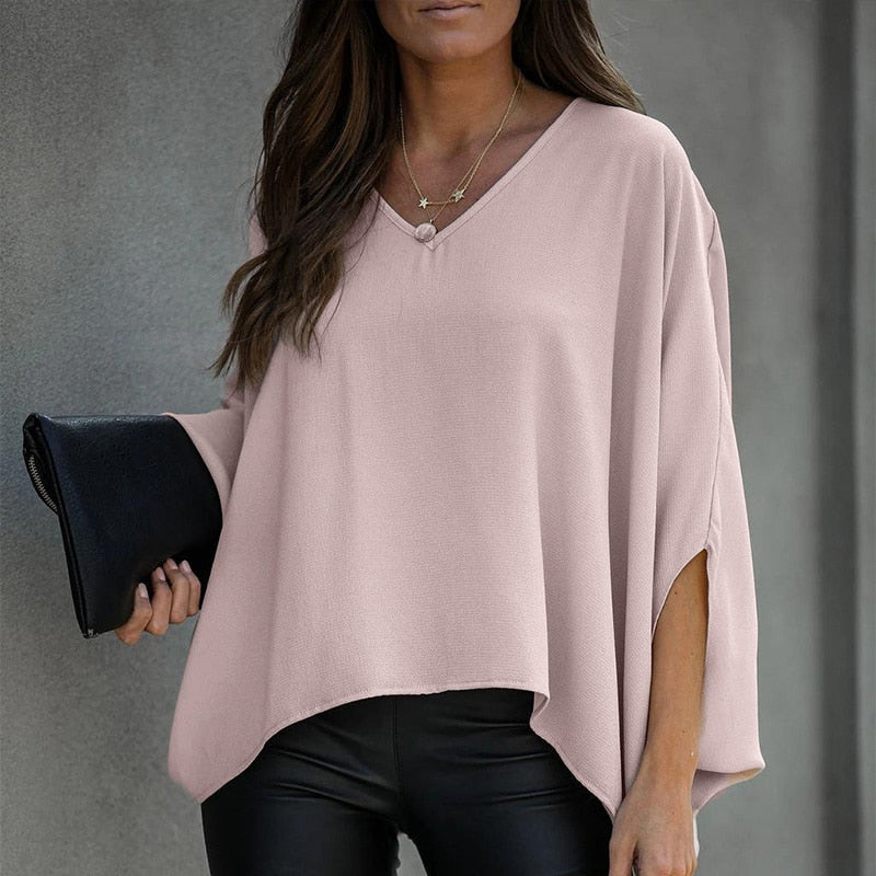 Tunic Women's Blouse V-neck  2020 Summer Fashion Casual