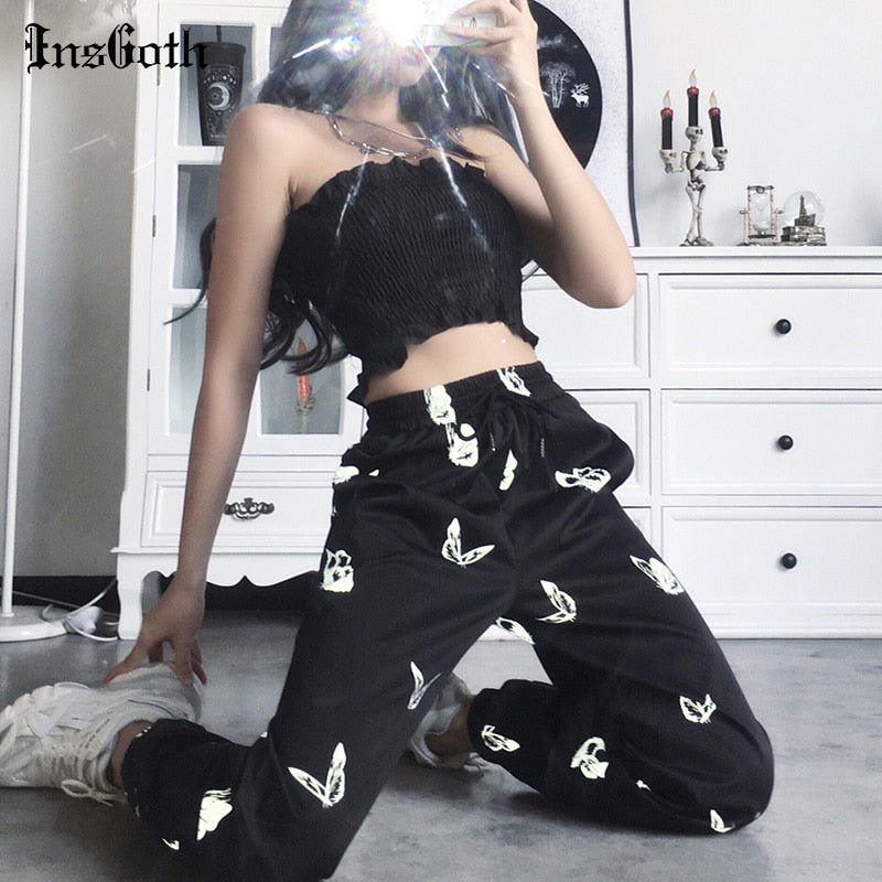 InsGoth Black Harem Pants Women Gothic Butterf  Reflective Pants
