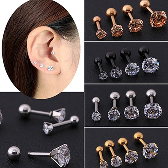 Men Women Stud Earrings Rhinestone Cartilage