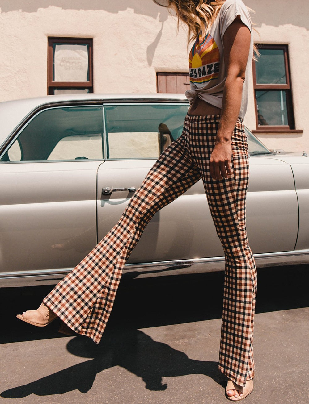 Ladies Retro Plaid Pattern Bell bottom Long Flare Pants Stretch