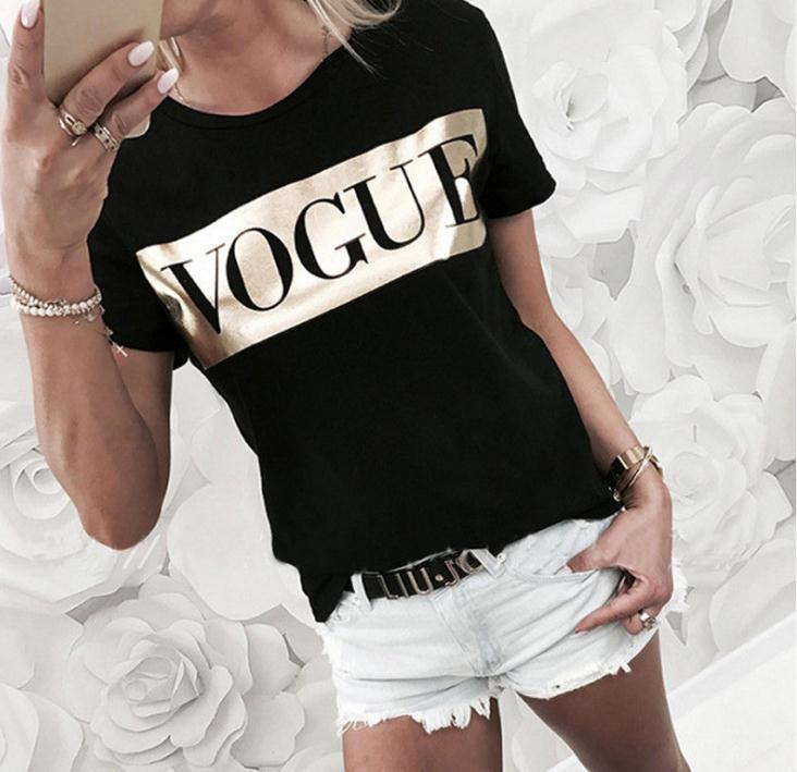 Vogue Letter Print T-Shirt Women Short Sleeve and Neck Loose