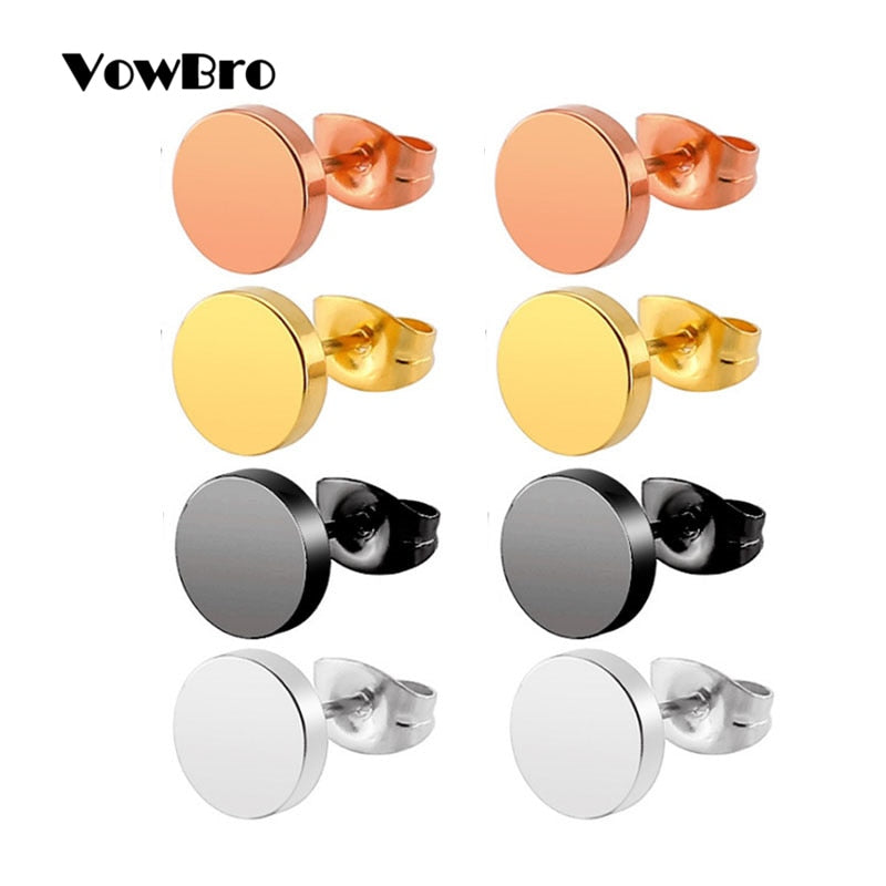 VowBro 1Pair Hot Round Black, Gold, Titanium, silver Stud stainless steel earings