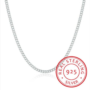 2mm Side Chain 925 Sterling Silver  Short Long