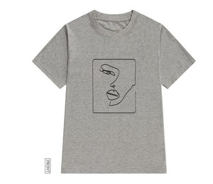 Face abstract simple Cotton Women t-shirt