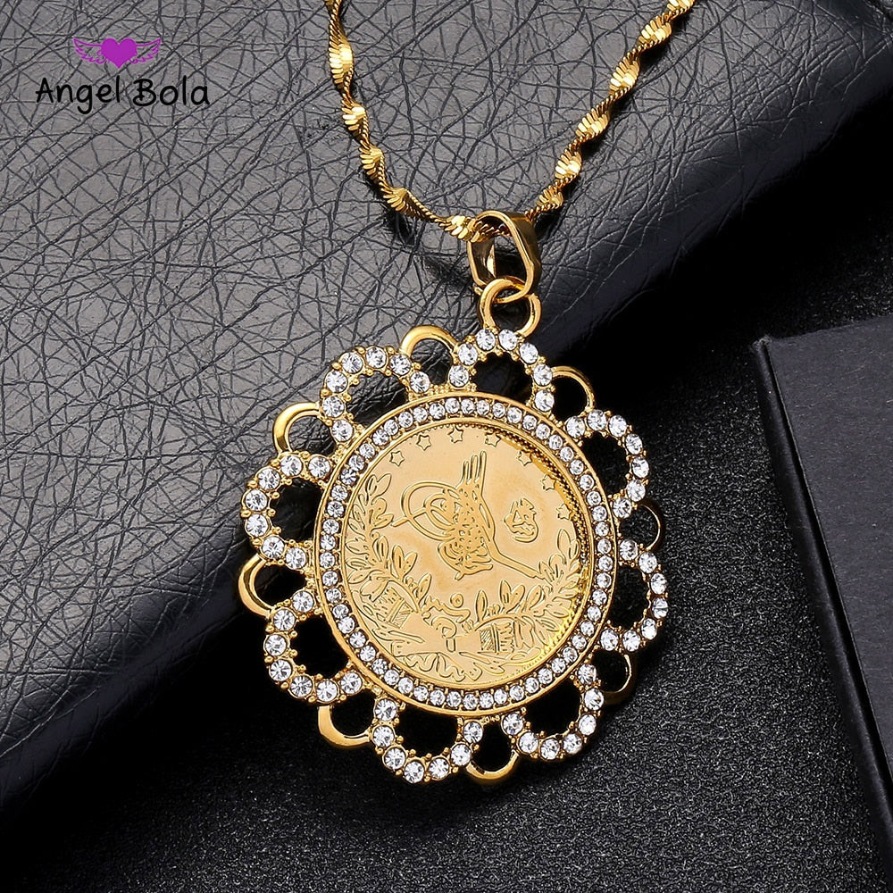 Ancient Coin Pendant Crystal Necklaces Women