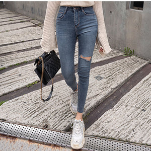 Sexy High Waist Tassel Ripped Holes Denim Pants Female Jeans Women Skinny Pants Black Jeans