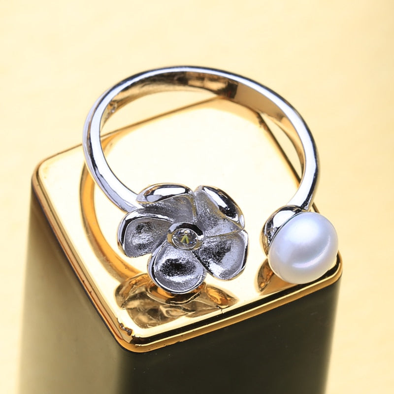 Cute flower ring with new Freshwater Pearl Jewelry 925 Sterling Silver