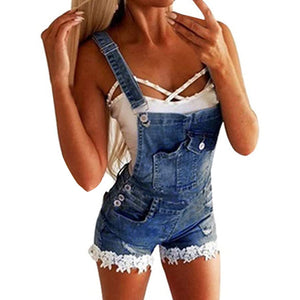 2020 Summer Sexy Ripped Hole Denim Overalls Short Jeans Jumpsuit