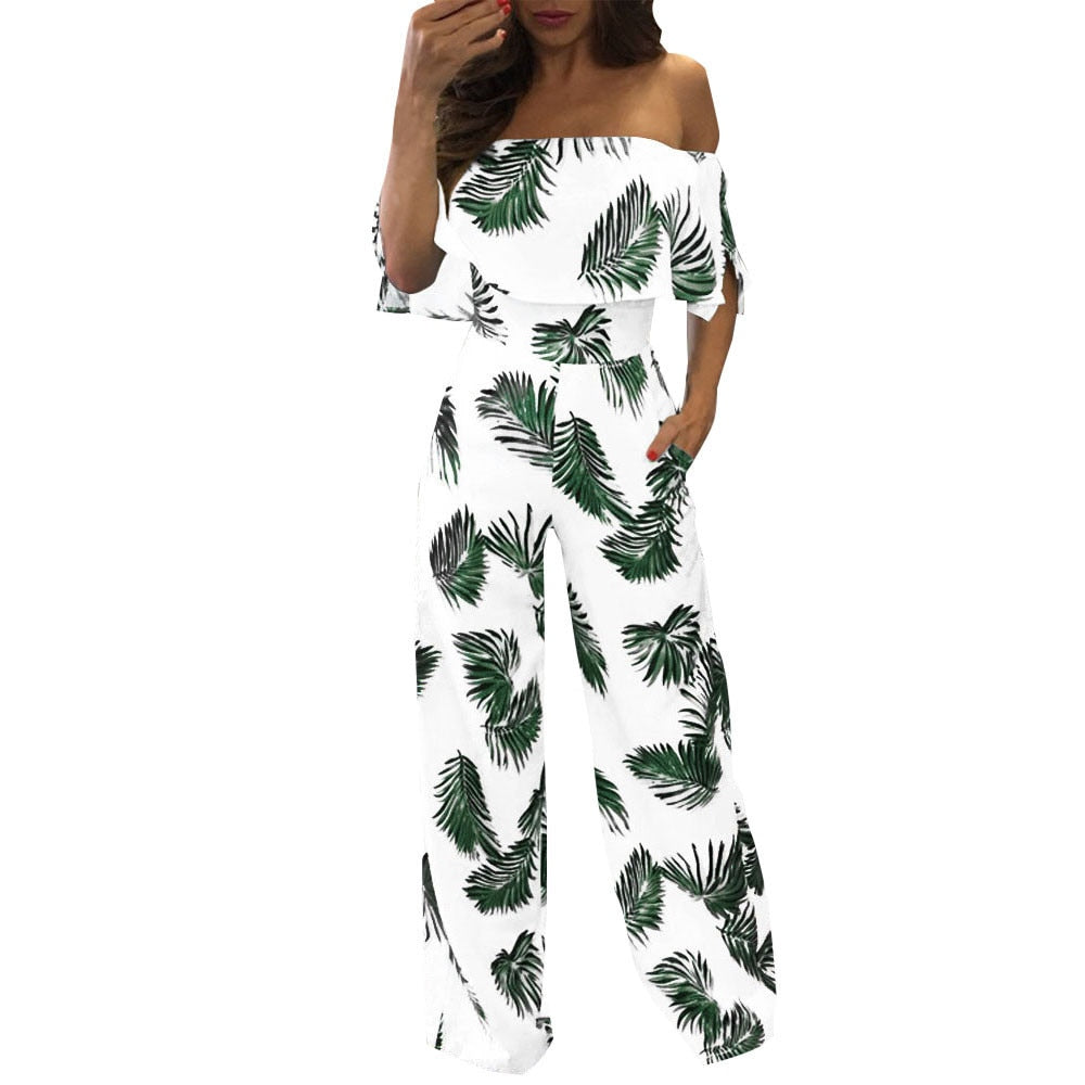 Women Casual Jumpsuits Off Shoulder Floral Leaf