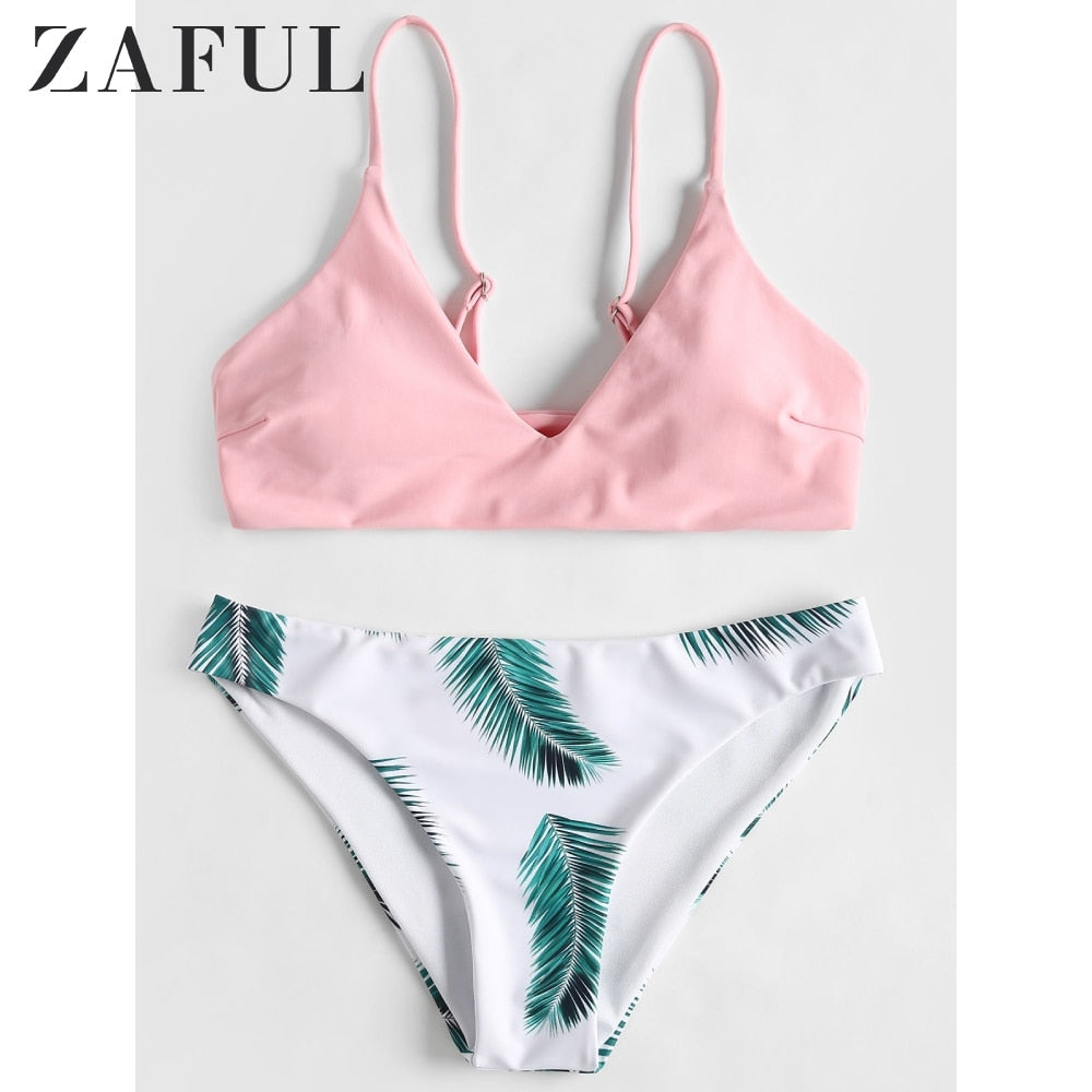 ZAFUL Floral Leaf Print Bikini Set Tropical