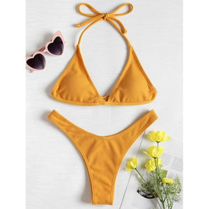 2020 Women's Sexy Solid Color Padded Underwire Bathing Wear Brazillian
