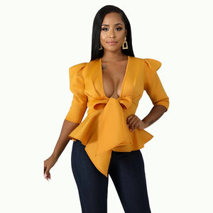 Women Peplum Blouse Waist Belt Bowtie Half Sleeves Deep V Neck Sexy Party .