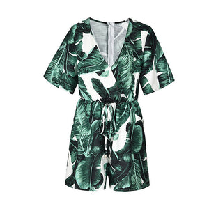 Sleeve Floral Print Romper with Belt V Neck Sexy Jumpsuit Short Overalls Casual