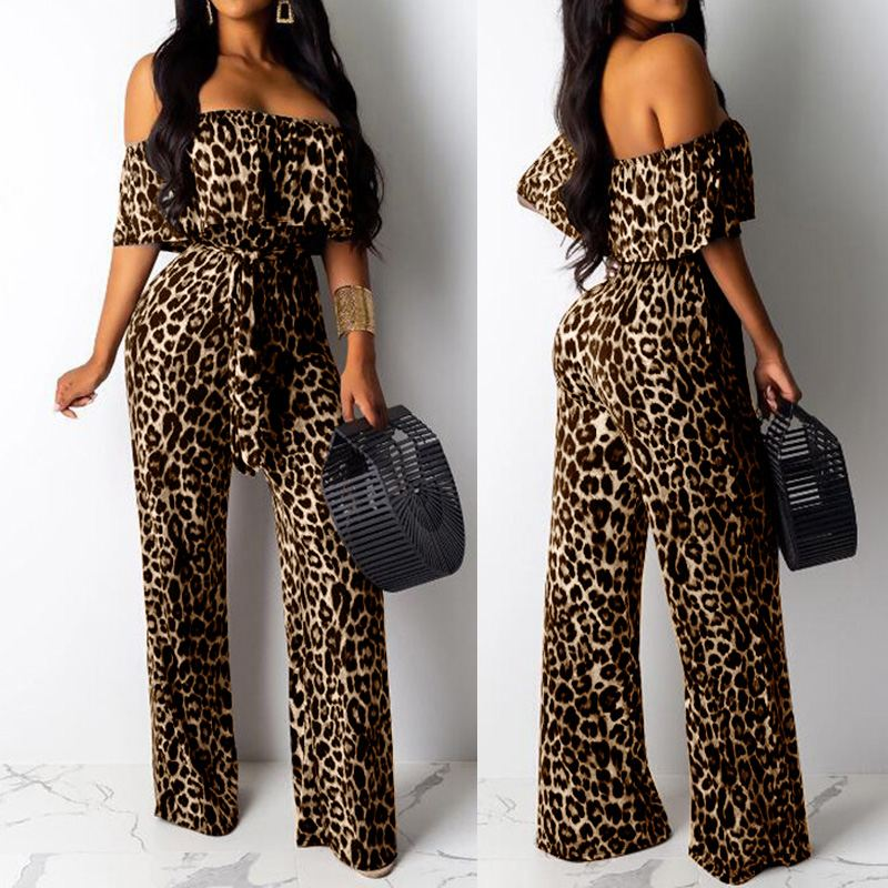 Sexy Off Shoulder Long Jumpsuits Celmia Women Leopard Print