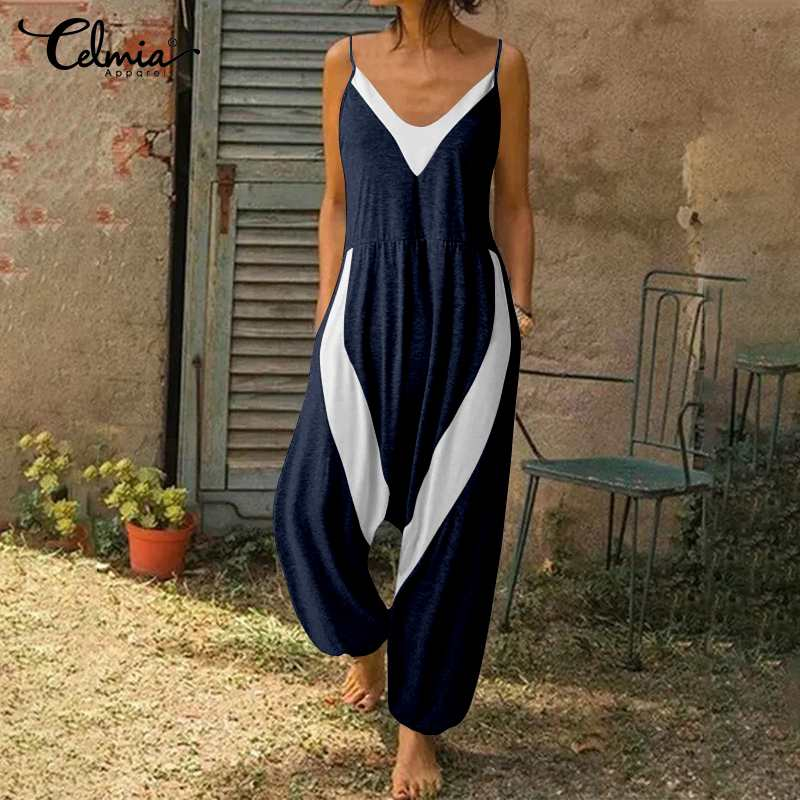 Celmia Women Jumpsuits Sexy V-neck Sleeveless Summer Playsuits Casual Loose  Pants