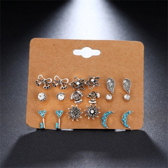 6 Pair/ set Punk Zircon  Gothic Design