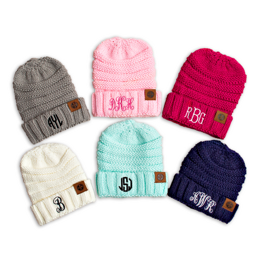 Kid's Sized Monogram Beanie
