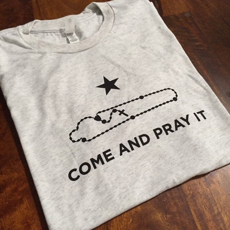Come and Pray It T-Shirt (Heather White/Black Ink)