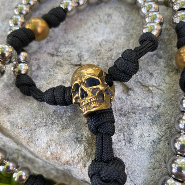 The Memento Mori Full-Size Paracord Rosary + Pouch