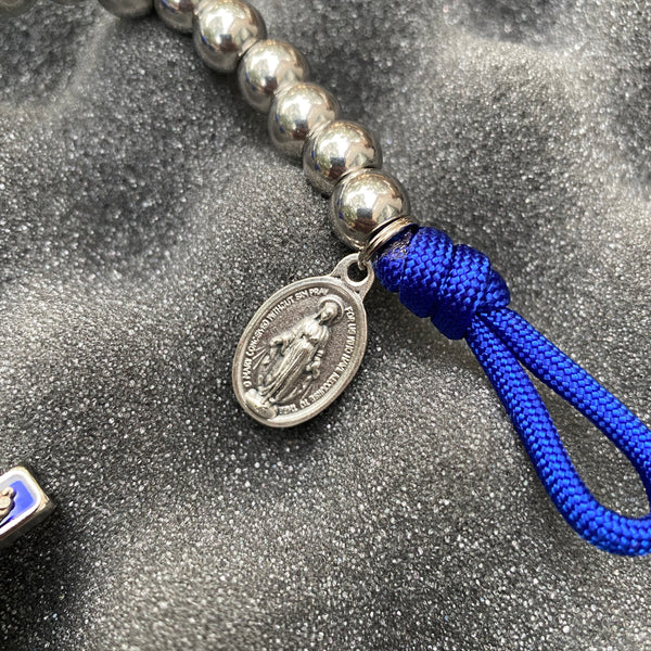 The Mighty Heel of Our Lady Compact Paracord Rosary (Stainless Style)
