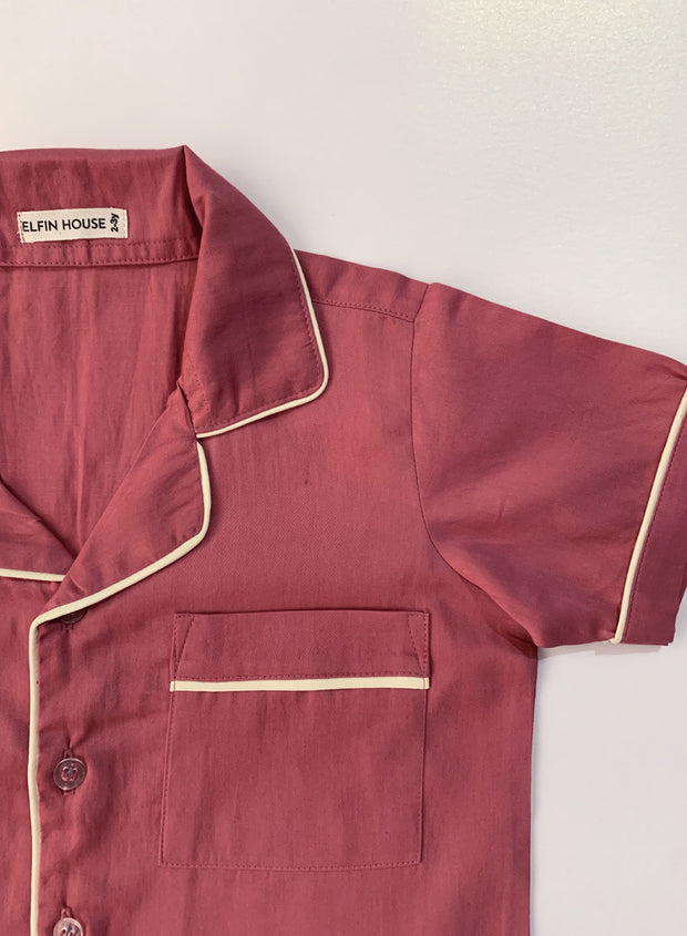 Dusty Red Kid's Pyjama Set