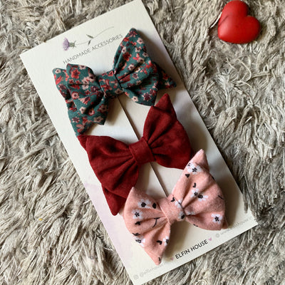 Mix & Match pack of 3 Double Bow Clips