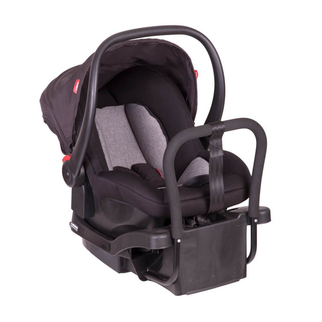 phil&teds alpha  capsule with isofix base 3qtr view_black/grey marl