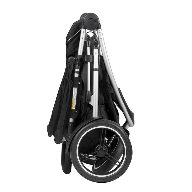 phil&teds dash lightweight inline stroller compact fold in black side view_black