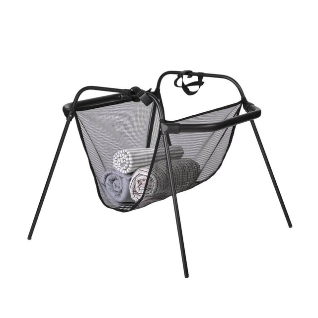 phil&teds carrycot stand with storage basket 3/4 view_black