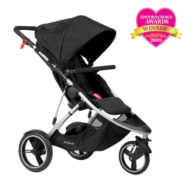 phil&teds dash lightweight inline stroller winner editors choice award 2018 in black 3qtr view_black