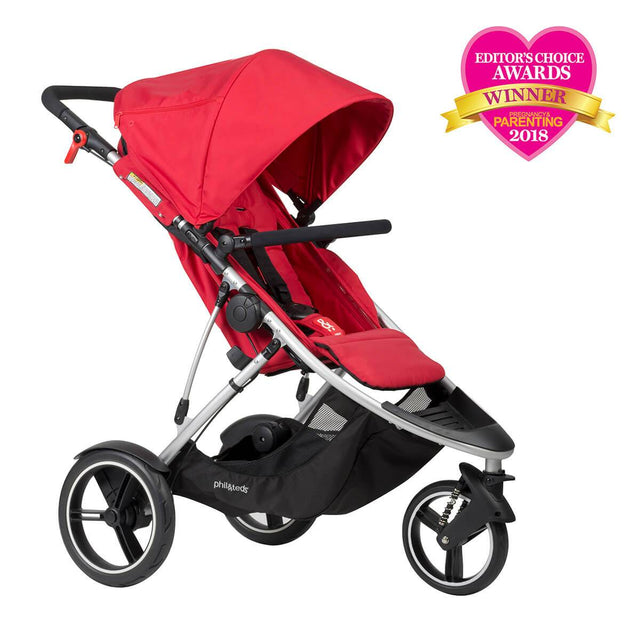 phil&teds dash lightweight inline stroller winner editors choice award 2018 in red 3qtr view_red