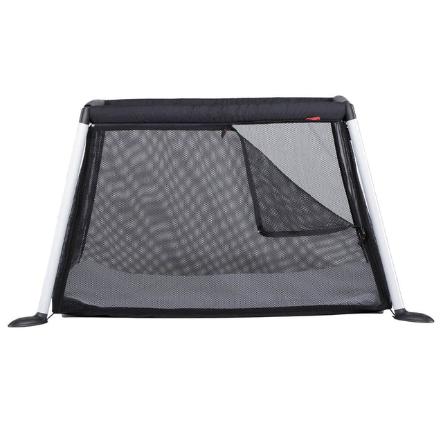 phil&teds traveller travel cot with mesh sides side view_black