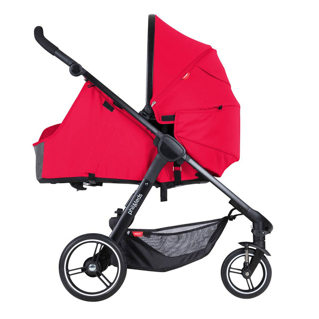 phil&rteds smart stroller v3 cherry red lightweight travel cocoon parent facing position_cherry