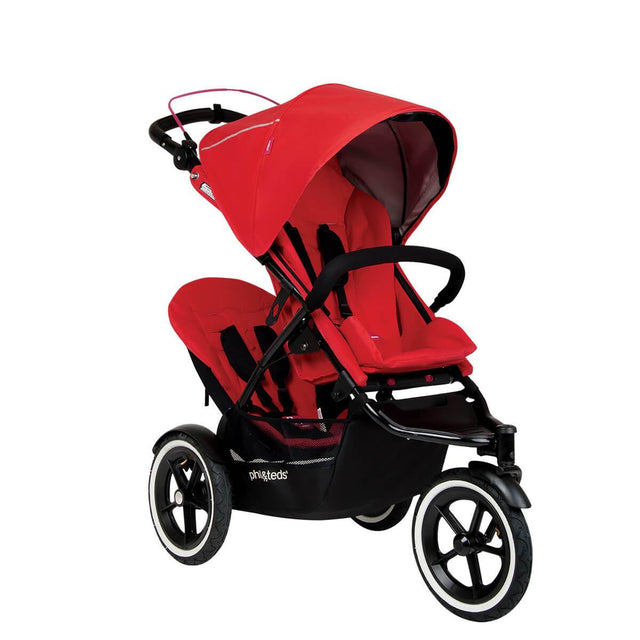 phil&teds sport navigator inline stroller double kit attached in cherry red 3qtr view_cherry
