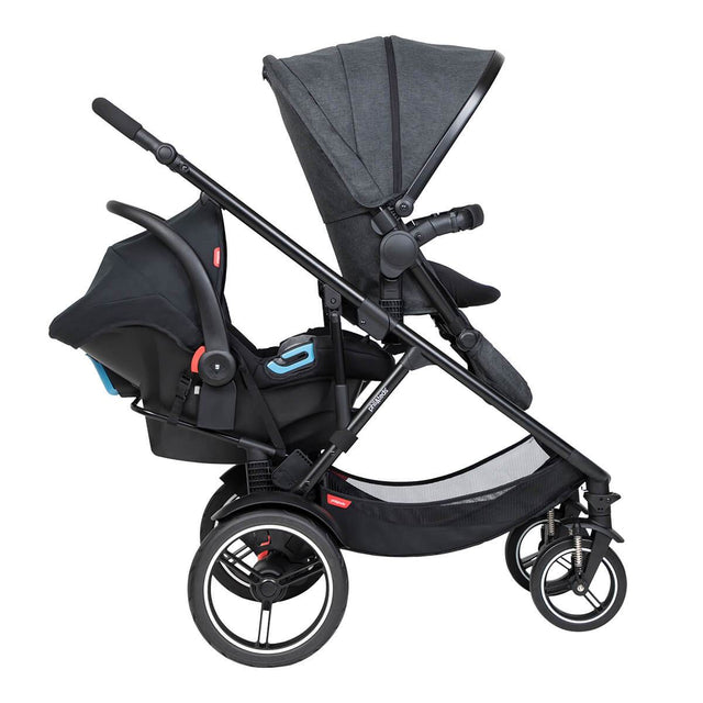 phil&teds voyager inline buggy with main seat on top and alpha travel system in rear