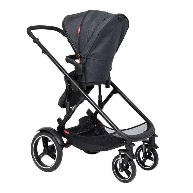 philandteds inline modular inline buggy with seat in parent facing position 3qtr view_charcoal